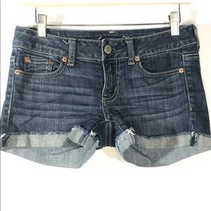 American Eagle Size 2 Jean Shorts Cuff Distressed